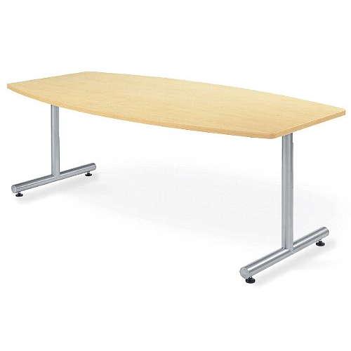 【廃番】会議用テーブル 2本固定脚 MTS-1890B W1800×D900×H700(mm) ボート形(舟形)天板 粉体塗装のメイン画像
