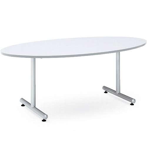 【廃番】会議用テーブル 2本固定脚 MTS-1890E W1800×D900×H700(mm) タマゴ形(卵形)天板 粉体塗装のメイン画像