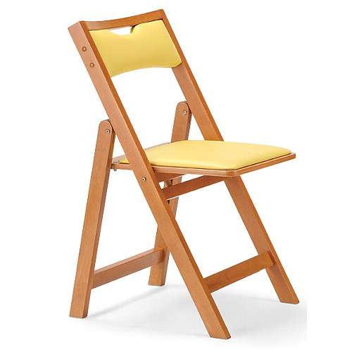 【廃番】介護椅子 アイコ 角背 折りたたみ 木製チェア 持ち手付き MW-200 フラット収納のメイン画像