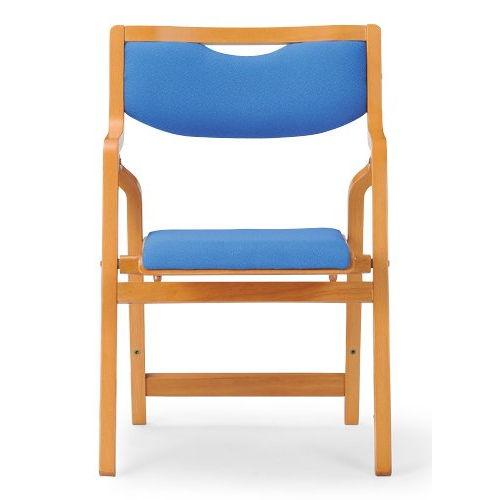 介護椅子 角背 折りたたみ スタッキング 木製チェア 持ち手付き MW-300 肘あり商品画像4