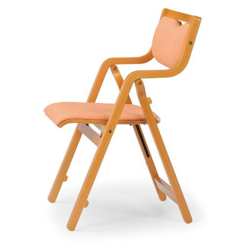 介護椅子 角背 折りたたみ スタッキング 木製チェア 持ち手付き MW-300 肘あり商品画像6