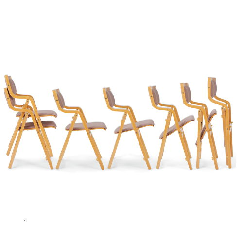 【廃番】介護椅子 アイコ 角背 折りたたみ スタッキング 木製チェア 手掛け付き MW-300 肘あり商品画像7