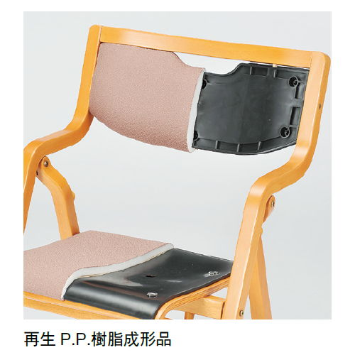 【廃番】介護椅子 アイコ 角背 折りたたみ スタッキング 木製チェア 手掛け付き MW-300 肘あり商品画像9