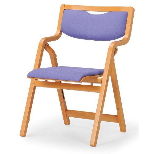 介護椅子 角背 折りたたみ スタッキング 木製チェア 持ち手付き MW-300 肘ありのメイン画像