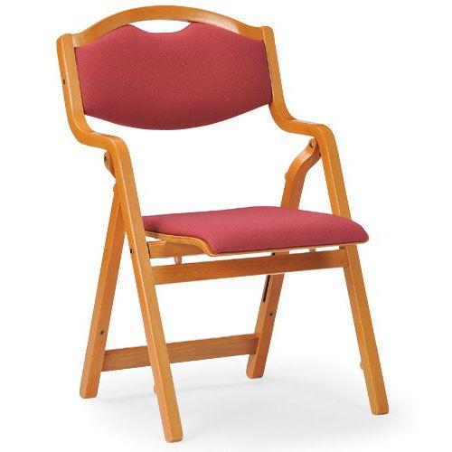 介護椅子 丸背 折りたたみ スタッキング 木製チェア 持ち手付き MW-305 肘あり商品画像4