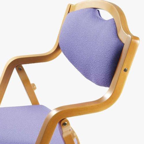 介護椅子 丸背 折りたたみ スタッキング 木製チェア 持ち手付き MW-305 肘あり商品画像5
