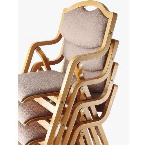 介護椅子 丸背 折りたたみ スタッキング 木製チェア 持ち手付き MW-305 肘あり商品画像6