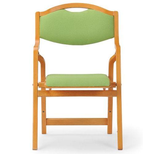 介護椅子 丸背 折りたたみ スタッキング 木製チェア 持ち手付き MW-305 肘ありのメイン画像