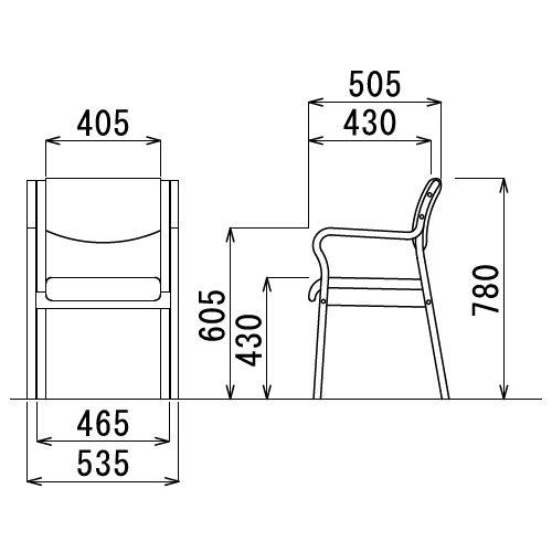 介護椅子 角背 木製チェア MW-310 肘あり商品画像3