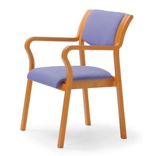 介護椅子 角背 木製チェア MW-310 肘あり商品画像4