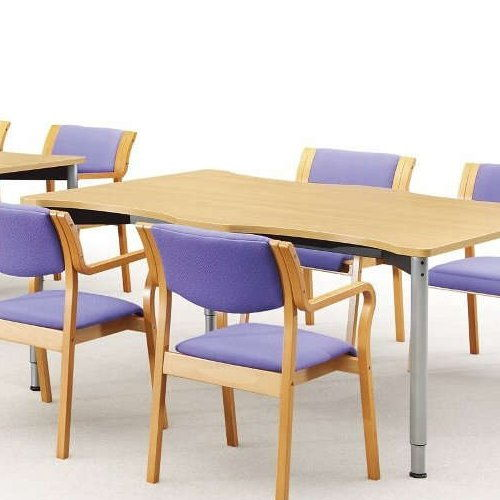 介護椅子 角背 木製チェア MW-310 肘あり商品画像5