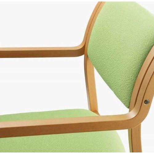 介護椅子 角背 木製チェア MW-310 肘あり商品画像6