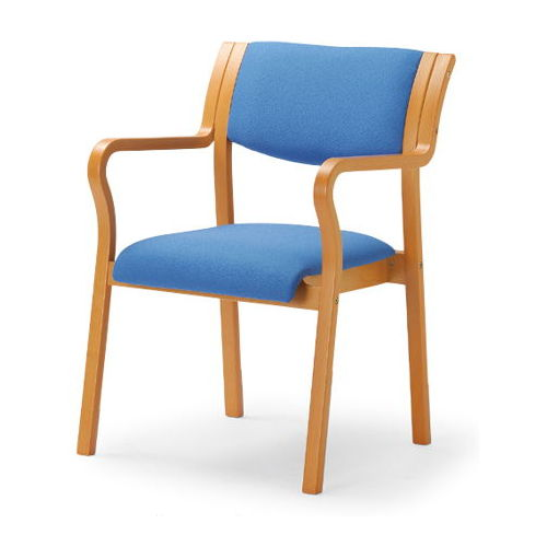 介護椅子 角背 木製チェア MW-310 肘ありのメイン画像