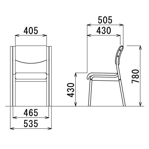 【廃番】介護椅子 アイコ 角背 木製チェア MW-311 肘なし商品画像3