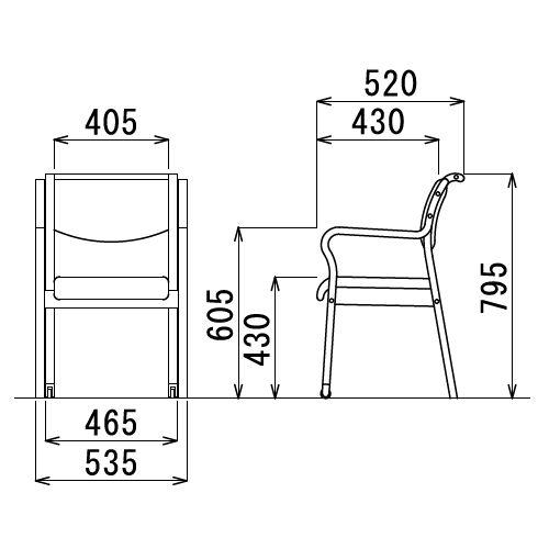 介護椅子 角背 木製チェア 持ち手付き 前脚キャスター付き MW-312 肘あり商品画像3