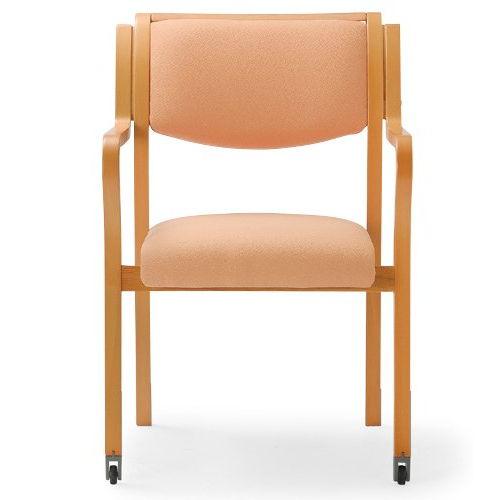 介護椅子 角背 木製チェア 持ち手付き 前脚キャスター付き MW-312 肘あり商品画像4