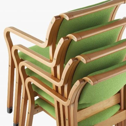 介護椅子 角背 木製チェア 持ち手付き 前脚キャスター付き MW-312 肘あり商品画像6