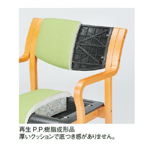 介護椅子 角背 木製チェア 持ち手付き 前脚キャスター付き MW-312 肘あり商品画像8