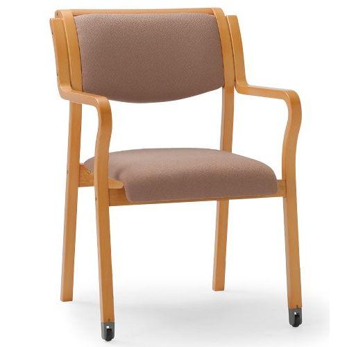 介護椅子 角背 木製チェア 持ち手付き 前脚キャスター付き MW-312 肘ありのメイン画像
