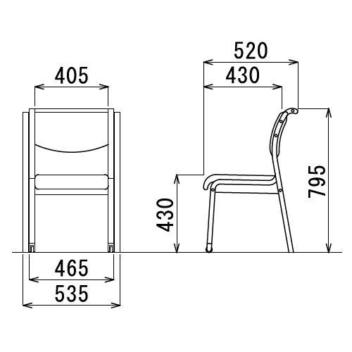 介護椅子 角背 木製チェア 持ち手付き 前脚キャスター付き MW-313 肘なし商品画像3