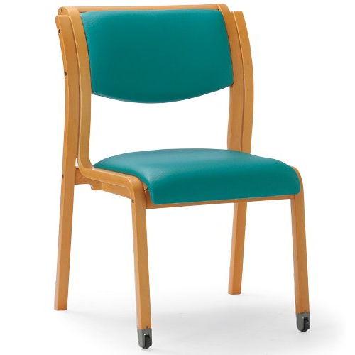 介護椅子 角背 木製チェア 持ち手付き 前脚キャスター付き MW-313 肘なし商品画像4