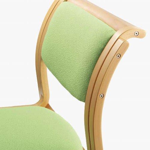 【廃番】介護椅子 アイコ 角背 木製チェア 持ち手付き 前脚キャスター付き MW-313 肘なし商品画像4