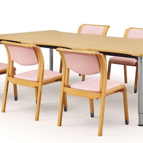 【廃番】介護椅子 アイコ 角背 木製チェア 持ち手付き 前脚キャスター付き MW-313 肘なし商品画像5
