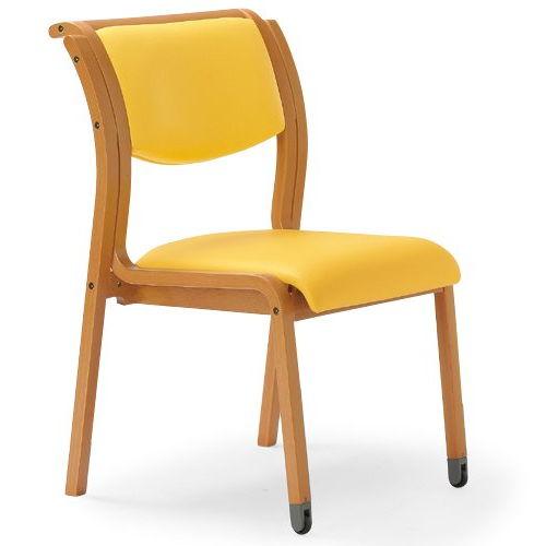 【廃番】介護椅子 角背 木製チェア 持ち手付き 前脚キャスター付き MW-313 肘なしのメイン画像