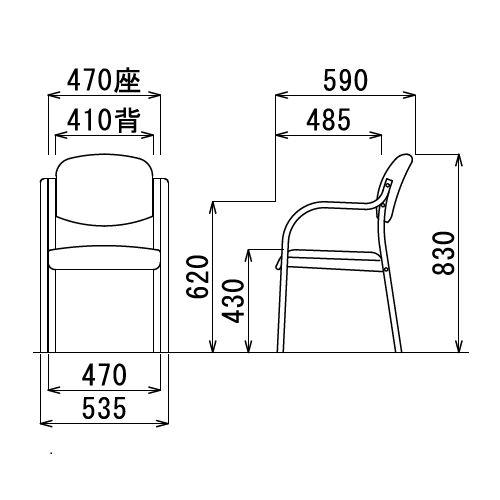介護椅子 丸背 木製チェア MW-320 肘あり商品画像3