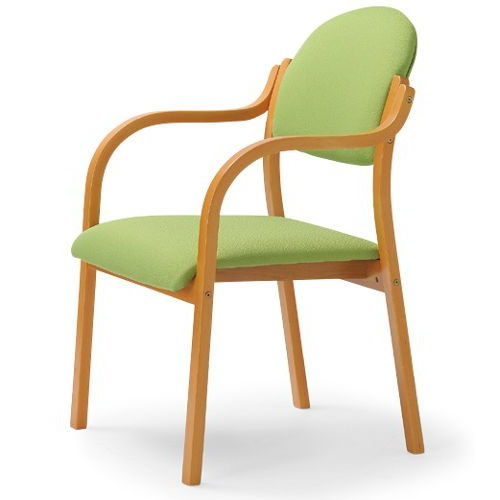 介護椅子 丸背 木製チェア MW-320 肘あり商品画像4