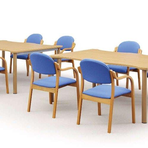 介護椅子 丸背 木製チェア MW-320 肘あり商品画像6
