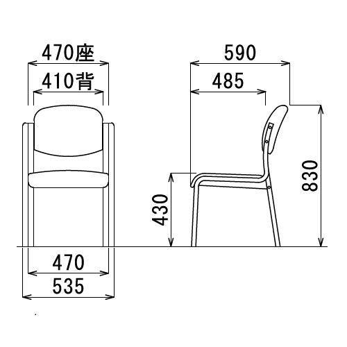 【廃番】介護椅子 アイコ 丸背 木製チェア MW-321 肘なし商品画像3