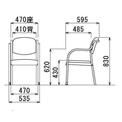 【廃番】介護椅子 丸背 木製チェア 持ち手付き 前脚キャスター付き MW-322 肘あり商品画像3