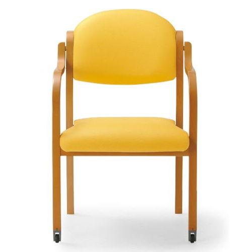【廃番】介護椅子 アイコ 丸背 木製チェア 持ち手付き 前脚キャスター付き MW-322 肘あり商品画像3