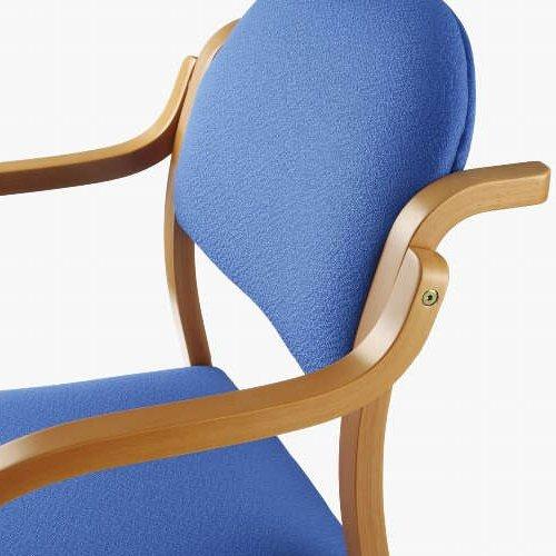 【廃番】介護椅子 アイコ 丸背 木製チェア 持ち手付き 前脚キャスター付き MW-322 肘あり商品画像4