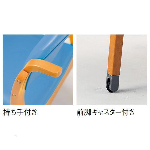 【廃番】介護椅子 アイコ 丸背 木製チェア 持ち手付き 前脚キャスター付き MW-322 肘あり商品画像8