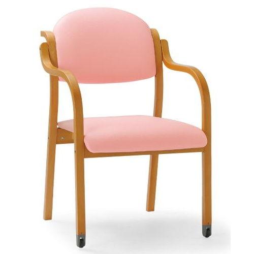 【廃番】介護椅子 丸背 木製チェア 持ち手付き 前脚キャスター付き MW-322 肘ありのメイン画像
