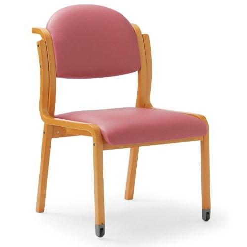 【廃番】介護椅子 アイコ 丸背 木製チェア 持ち手付き 前脚キャスター付き MW-323 肘なし商品画像4