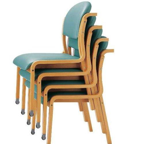 【廃番】介護椅子 アイコ 丸背 木製チェア 持ち手付き 前脚キャスター付き MW-323 肘なし商品画像5