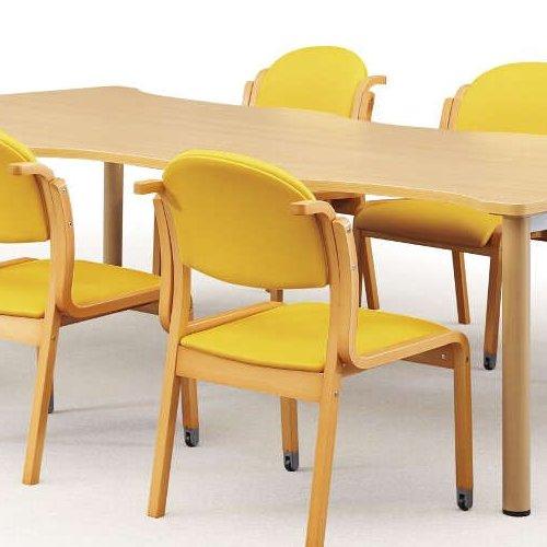 【廃番】介護椅子 アイコ 丸背 木製チェア 持ち手付き 前脚キャスター付き MW-323 肘なし商品画像6