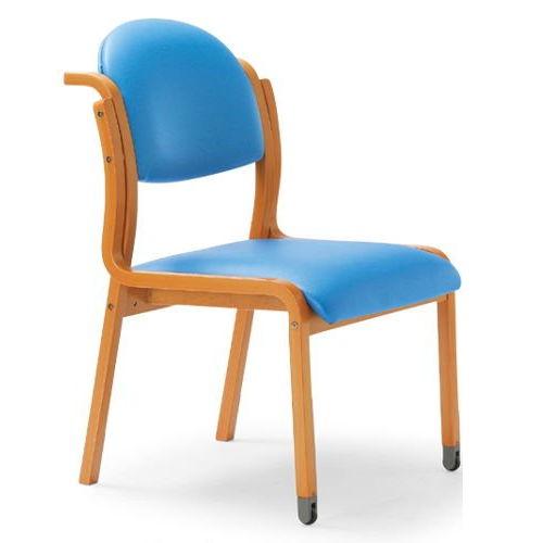 【廃番】介護椅子 アイコ 丸背 木製チェア 持ち手付き 前脚キャスター付き MW-323 肘なしのメイン画像