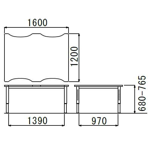 介護テーブル アイコ 天板上下昇降式 凹み形天板 NJT-1612 W1600×D1200×H680~765(mm)商品画像3