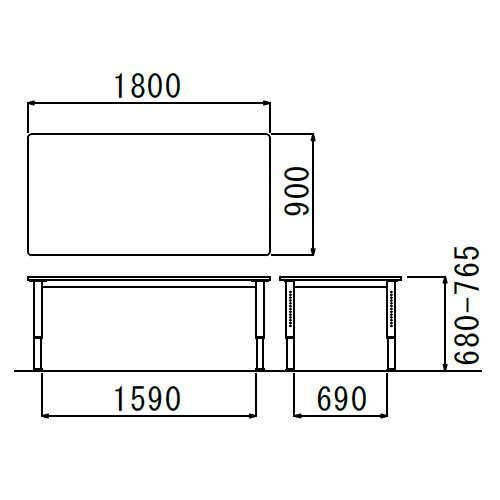 介護テーブル アイコ 天板上下昇降式 NJT-1890 W1800×D900×H680〜765(mm)商品画像2