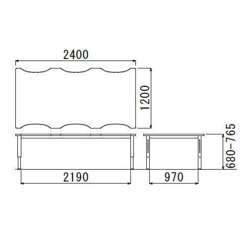 介護テーブル アイコ 天板上下昇降式 凹み形天板 NJT-2412 W2400×D1200×H680〜765(mm)商品画像2