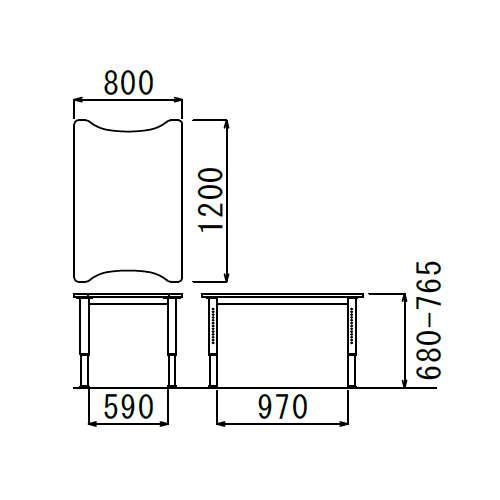 【廃番】介護テーブル 天板上下昇降式 凹み形天板 NJT-8012 W800×D1200×H680~765(mm)商品画像3