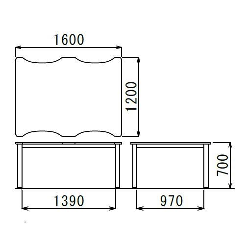 介護テーブル アイコ NSTテーブル 凹み形天板 NST-1612 W1600×D1200×H700(mm)商品画像3