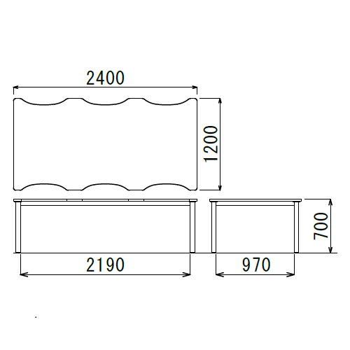 【廃番】介護テーブル NSTテーブル 凹み形天板 NST-2412 W2400×D1200×H700(mm)商品画像3
