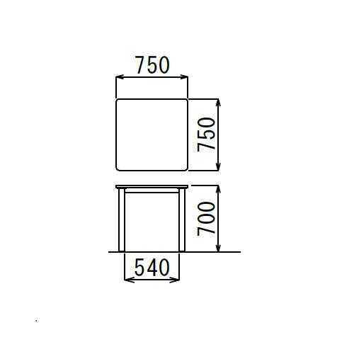 介護テーブル アイコ NSTテーブル 正方形天板 NST-7575 W750×D750×H700(mm)商品画像3