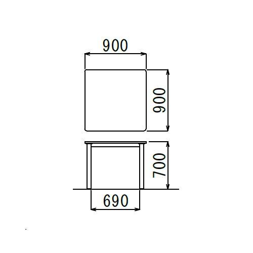 【廃番】介護テーブル NSTテーブル 正方形天板 NST-9090 W900×D900×H700(mm)商品画像3