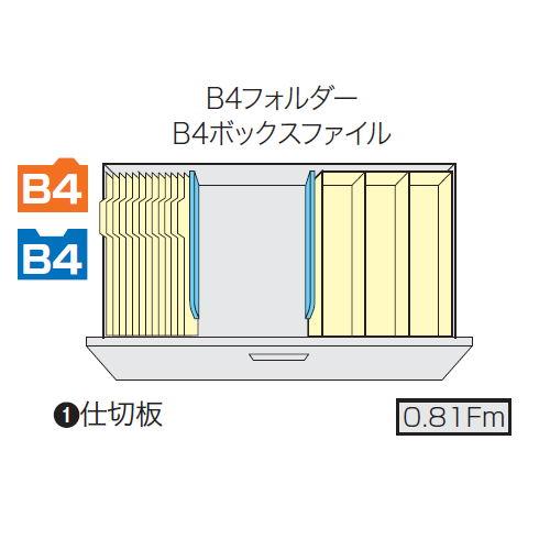 ファイル引き出し書庫 2段 ナイキ NW型 NW-0907S-2-AW W899×D450×H700(mm)商品画像5